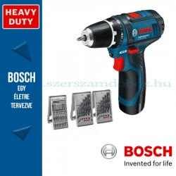 Bosch GSR 12V-15 Li Professional Akkus Fúró-csavarbehajtó bitkészletekkel
