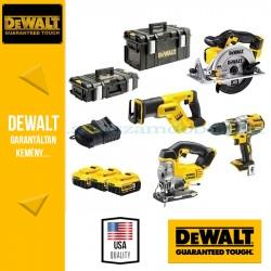 DeWalt Ütvefúró-csavarozó + Körfűrész + Kardfűrész + Dekopírfűrész DCK453P3-QW