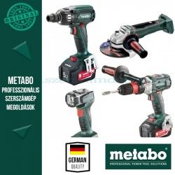 Metabo Fémipari gépcsomag (menetfúró, ütvecsavarozó, sarokcsiszoló, lámpa)