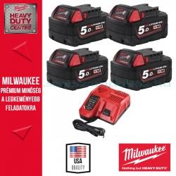Milwaukee M18 Akkucsomag 4x 5,0Ah akku + töltő