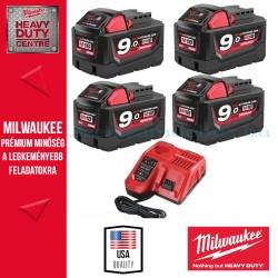Milwaukee M18 Akkucsomag 4x 9,0Ah akku + töltő
