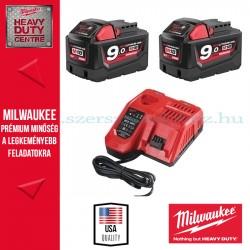 Milwaukee M18 Akkucsomag 2x 9,0Ah akku + töltő
