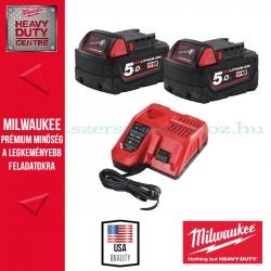 Milwaukee M18 Akkucsomag 2x 5,0Ah akku + töltő