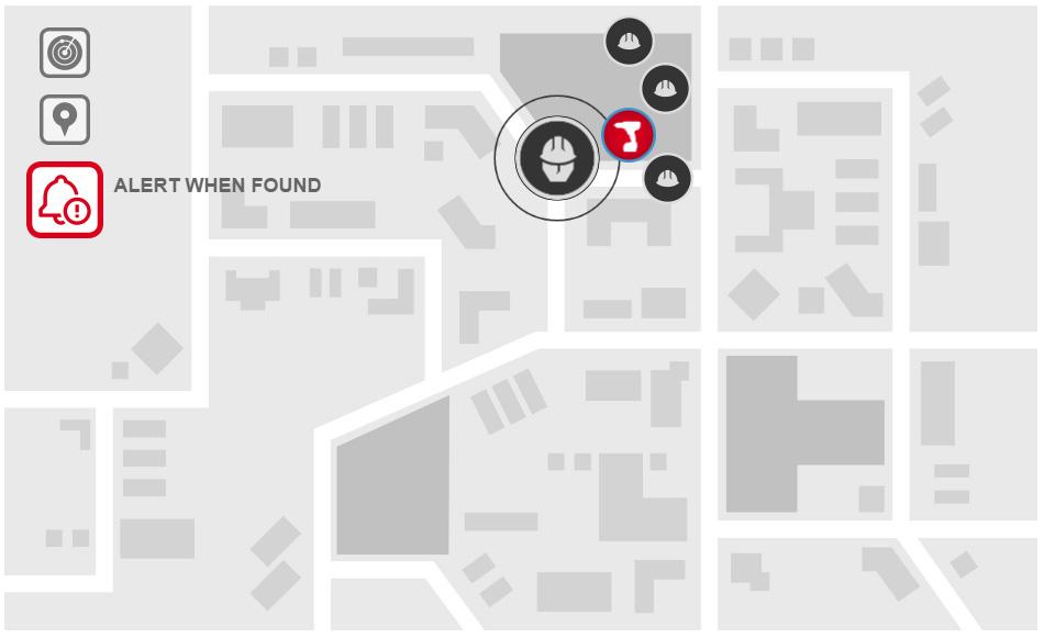 Milwaukee One-Key alkalmazás - Nyomkövetés funkció